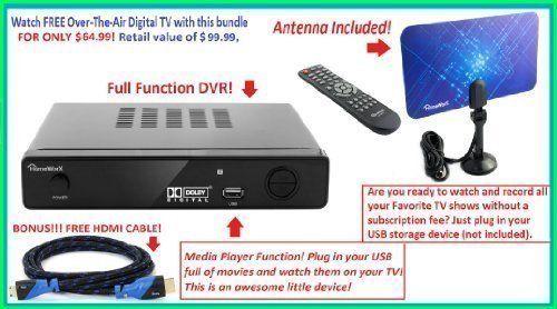Mediasonic HW150PVR HomeWorx HDTV Digital Converter Box with HDMI, Recording Function and USB playback + Digital Antenna + Premium HDMI Cable