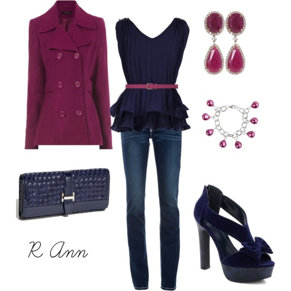 navy and plum: Colors Combos, Dreams Closet, Clothing Shoes Accessories, Navy Outfits, The Navy, Winter Coats, Berries, Belts, Navy Tops