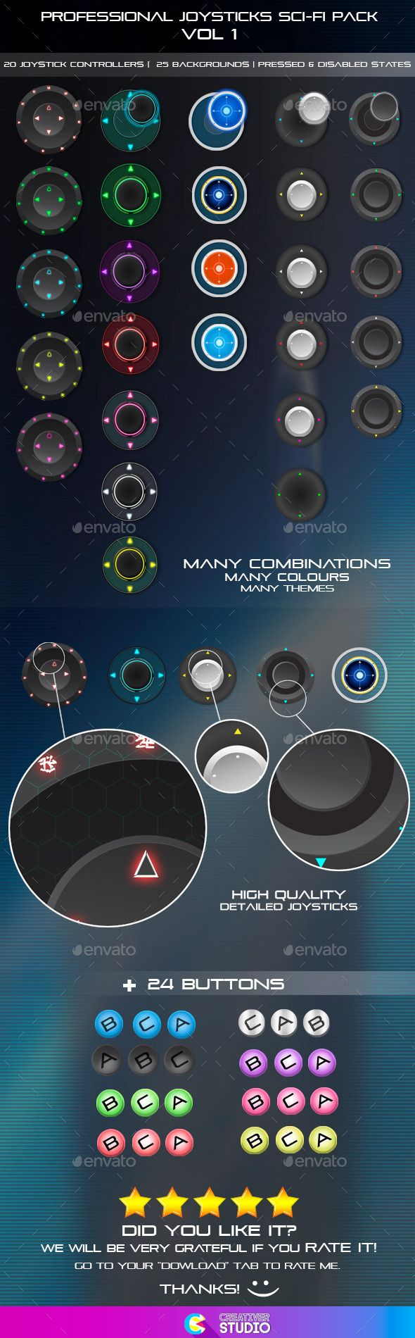 Professional Joysticks Sci-Fi Pack Vol 1 - User Interfaces Game Assets