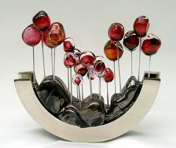 Arbres Timides, Pink & Amber - The Bulb is made of Blown Glass with pink inlay, the base is polished steel, nickel plated.
