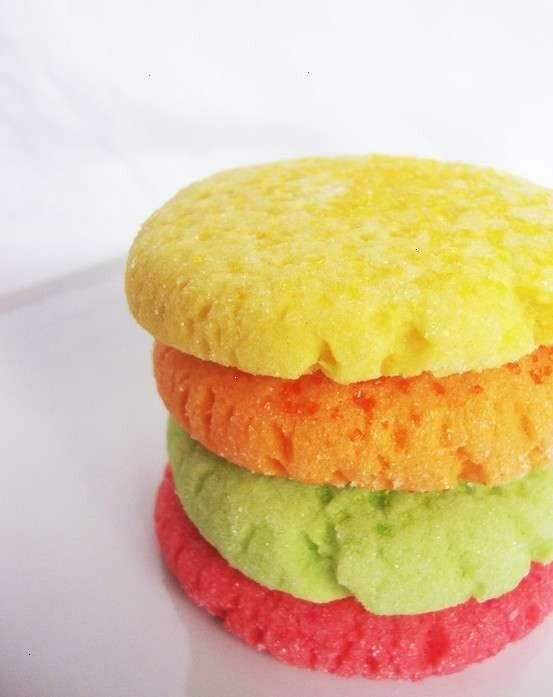 Jello sugar cookies!  3/4 cup margarine or 3/4 cup butter  1/2 cup sugar  1 (3 ounce) package Jello gelatin , any flavor  2 eggs  1 teaspoon vanilla  2 1/2 cups flour  1 teaspoon baking powder  1 teaspoon salt  Directions:  1.Cream margarine, sugar, jello and eggs together in a medium to large bowl.  2.Add the rest of the ingredients.  3.Mix well.  4.Roll dough into little balls and place on a greased and floured cookie sheet.  5.Flatten each with a fork   6. Bake 6-8 min at 350