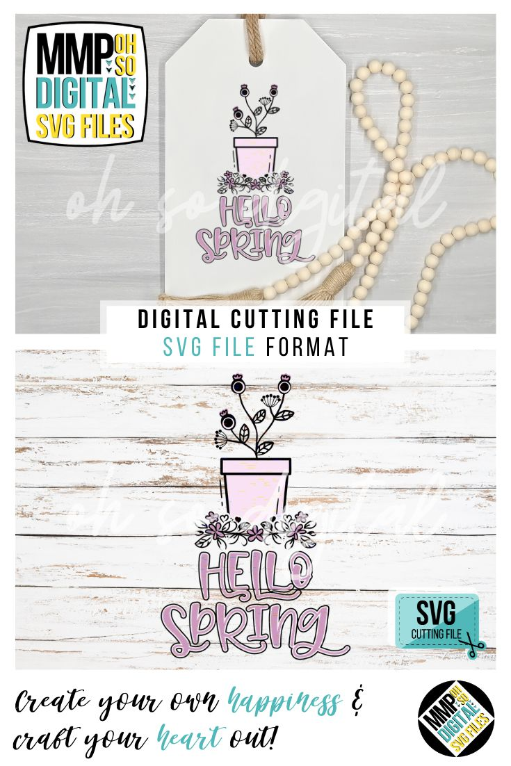 Hello Spring SVG, Spring Flowers SVG, Floral, Spring Sign