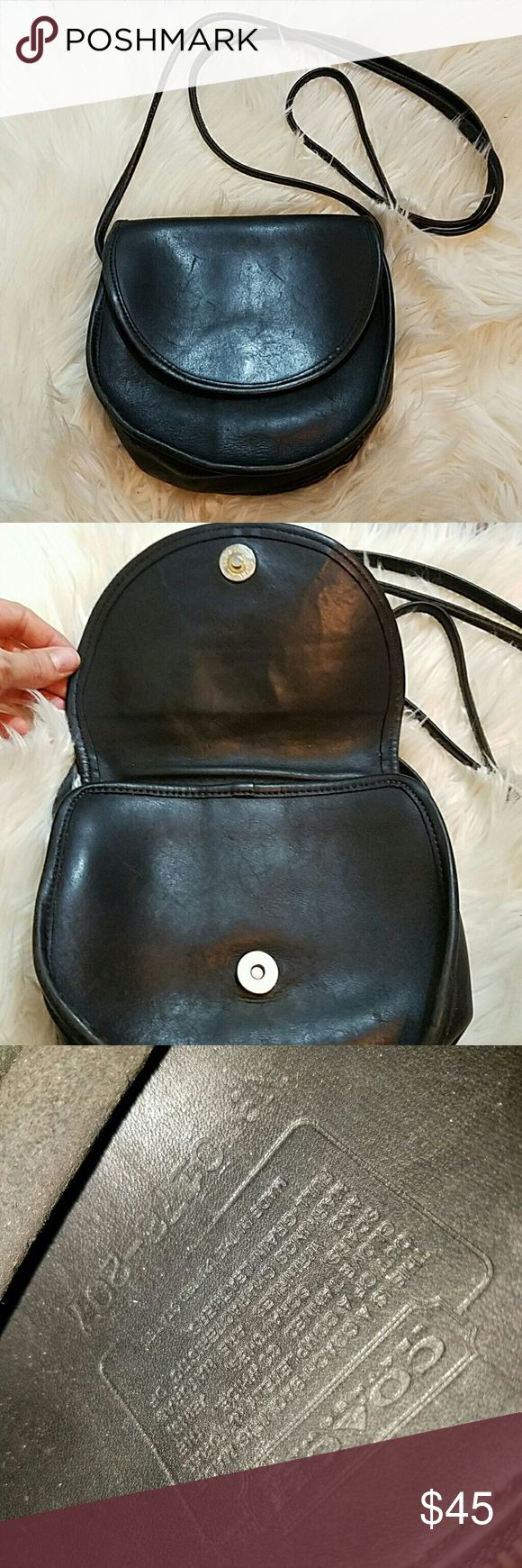 Vintage Coach Black Leather Crossbody Purse Vintage Coach Black Leather Crossbody Purse. Great used condition. *strap photo is how it is along the whole strap on one side from being a more vintage purse with the leather. Threads are fine   7.5 x 7.5 x 3 Coach Bags