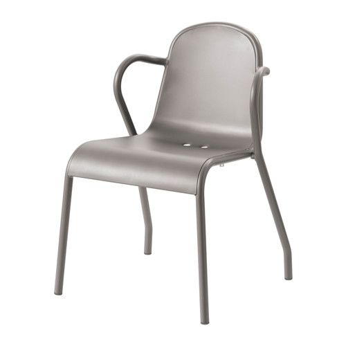 IKEA - TUNHOLMEN, UNHOLMEN outdoor chair, gray $60.00:  Sturdy, lightweight, made of rust-proof aluminum, so maintenance-free,  molded in one piece, so there's no assembly or screws to re-tighten. Stackable to save spae.  Hole in the seat lets water drain out.