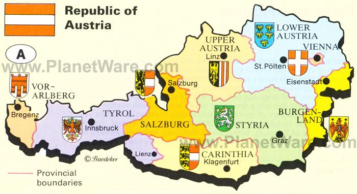 Map of Republic of Austria | PlanetWare