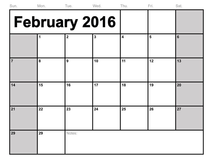 2016 Blank Calendars to Print | Activity Shelter