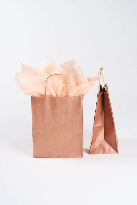 20 Metallic Rose Gold Gift Bags with Handles - size Cub- for Wedding Guests, Welcome Bag, Party Favor | Kraft Paper Bag in Copper Rose Gold