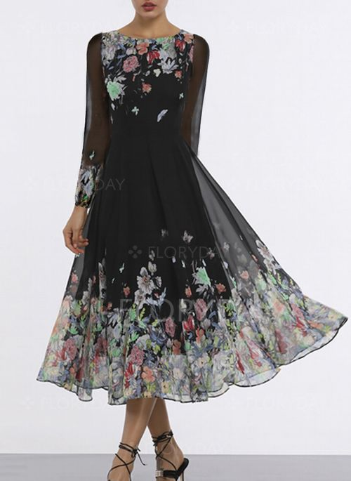 ebd525005339 Dress - $49.99 - Floral Long Sleeve Midi X-line Dress (1955335461 ...