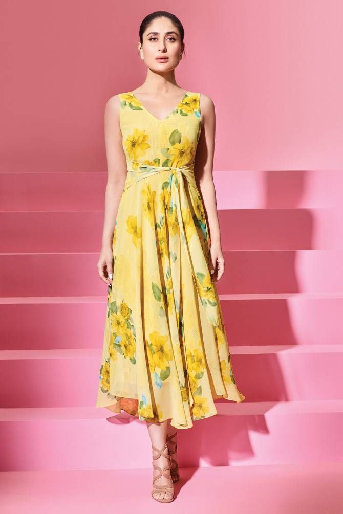 0777aaf9a5a Buy Yellow Floral Tie-Up Dress Online at AND India - SS18AN020DRP150 ...