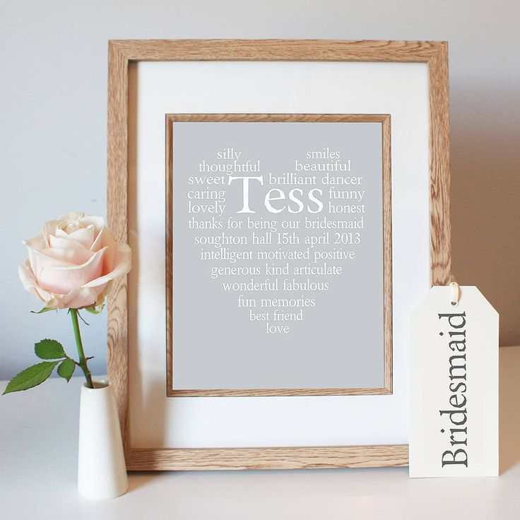 personalised bridesmaid thank you heart print by ciliegia designs | notonthehighstreet.com