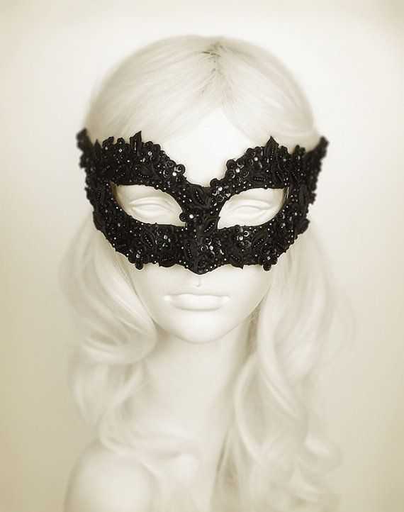 Sequined Black Masquerade Mask With Rhinestones And by SOFFITTA