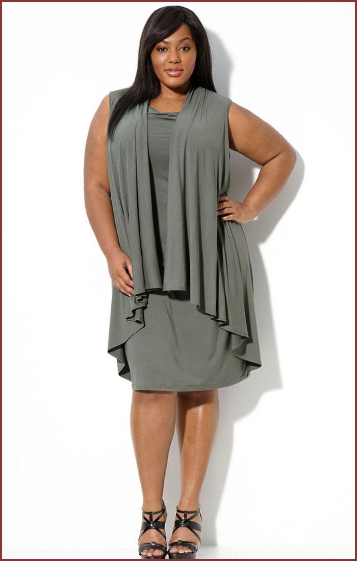 Plus Size Casual Dresses   ... Klein Sleeveless Drape Front Short Dress for Plus Size   Short Dresses