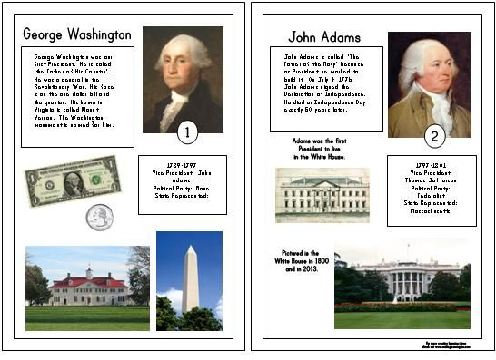 Printable Presidential Cards from makinglearningfun.com (still a work in progress but would be great for making into a booklet once completed!!)