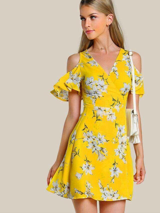 Vestido Amarillo Floreado Vestidos Cruzados Vestidos