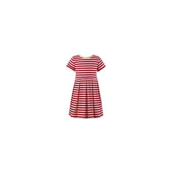 Striped Jersey Dress ❤ liked on Polyvore featuring dresses, red pleated dress, short sleeve jersey, nautical dresses, red short sleeve dress and nautical stripe dress