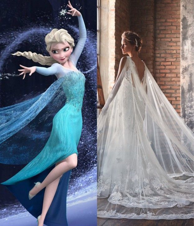 Delicate, frost-like and ethereal, Elsa would be a fully-fledged ice queen in   this breathtaking number. With a plunging back and sheer cape, the dress is   perhaps/ not/ suited for winter. But let the storm rage on – the cold never   bothered her anyway. Dress: The Silhouette 04 by Lusan Mandongus Elsa image: Pinterest