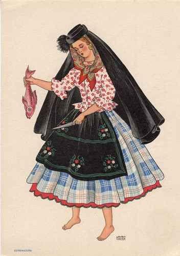 OLIVA - Saia de fazenda de grandes quadros sobre numerosas saias e saiotes. Blusa de - Lit. Nacional - S/D - Dimensões: 15x10,5 cm - Colecção M. F. Silva