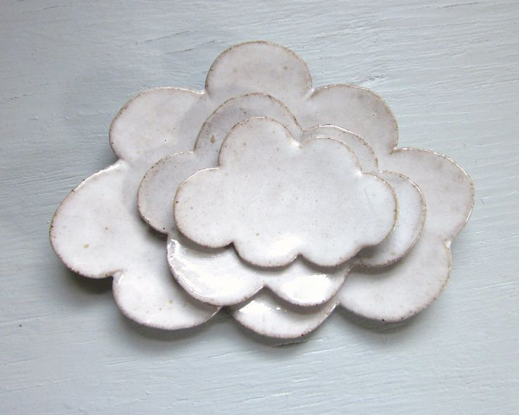 made to order - nesting cloud plates white trinket dishes tea bag holder sushi plates spoon rest pottery ceramic. $28.00, via Etsy.