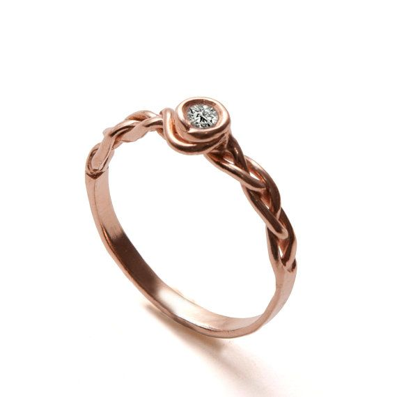 Braided Engagement Ring - 18K Rose Gold and Diamond engagement ring by Doron Merav
