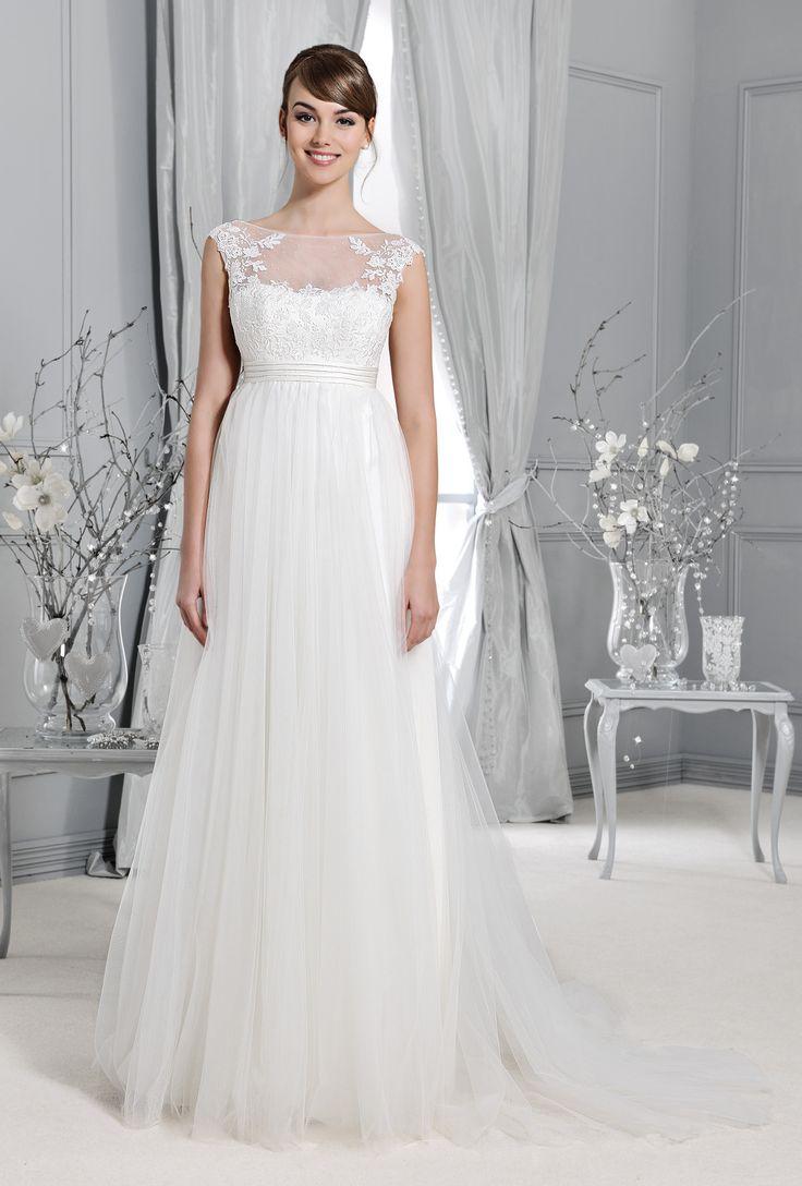svatební šaty tylová sukně těhotenské s rukávy Agnes 14028