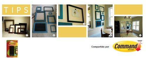 ¿Marcos viejos ?  Hoy les traemos una forma diferente para crear una decoración innovadora para la sala de tu casa:     1.Busca marcos viejos y pintalos, colócalos en formas distintas y pegalos con las Tiras Command para Cuadros.
