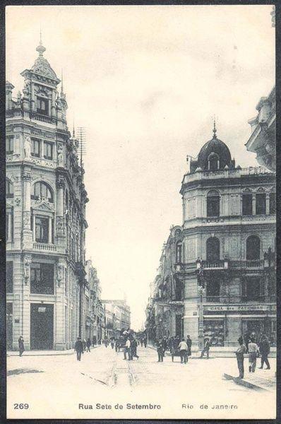 Rio de Janeiro - Rua Sete de Setembro - Bilhete Postal antigo original, nº 269, editado por A. Ribeiro.