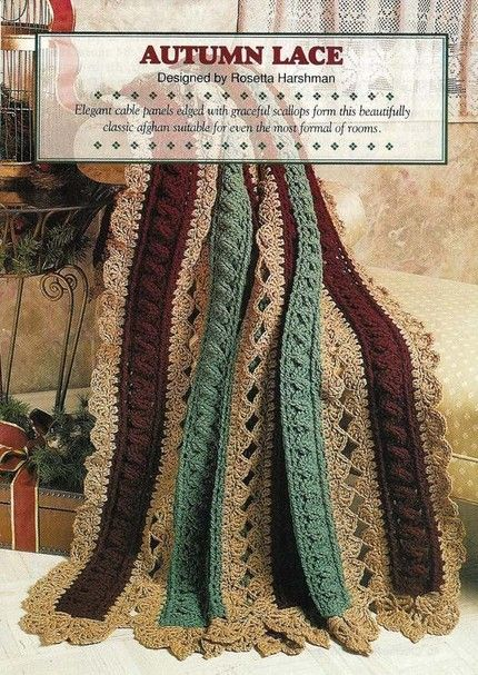 Y591 Crochet PATTERN ONLY Autumn Lace Strip Afghan Pattern | BeadedBundles - Craft Supplies on ArtFire