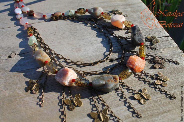 """Купить """"Энергия ветра"""" колье на цепи из необработанных камней - коричневый, украшение бусы, украшение колье"""