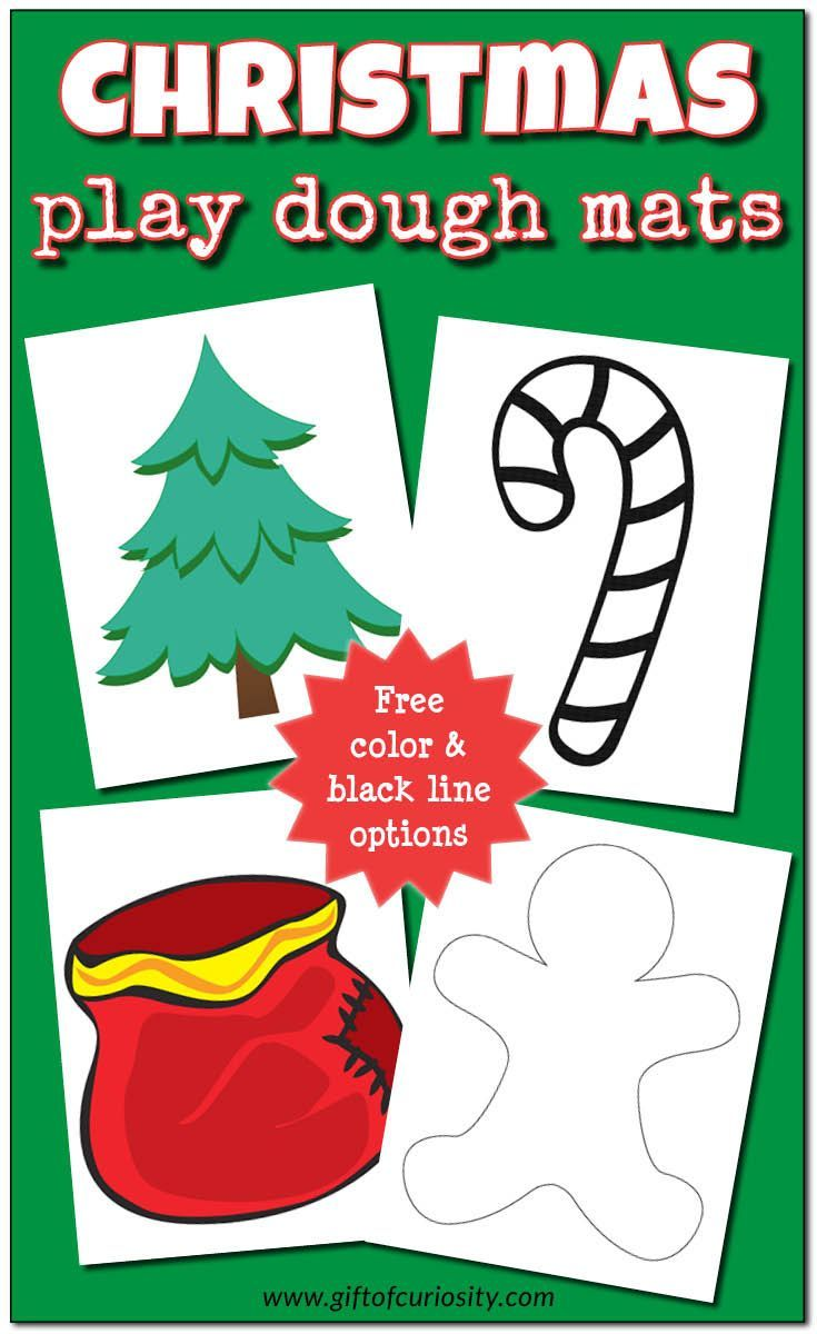 Free Christmas Play Dough Mats to inspire your children to get creative with their play dough this holiday season. Play dough mats promote fine motor skills development, sensory play, and creativity. These Christmas play dough mats include both color and black line options. || Gift of Curiosity