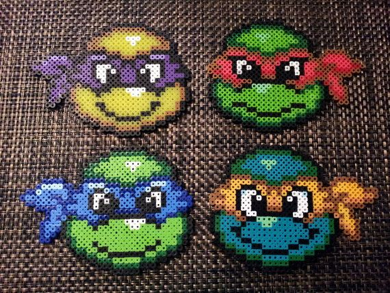 Teenage Mutant Ninja Turtles - TMNT- Perler Beads - Coaster Set with coaster holder. $18.00, via Etsy.