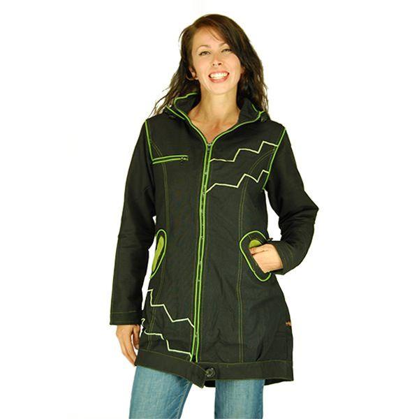 WASKA veste femme mi longue, manteau ethnique, noir et vert anis, chaud intérieur en polaire, ethno chic, festival, hiver,Manteau ethnique légèrement plus long à l'arrière à la coupe cintrée pour un look taille de guêpe. 2 poches sur les côtés + une poche zippée sur la poitrine. Liens de serrage pour la capuche et aux poignets. Veste noire très chaude, avec intérieur doublé en polaire. Son tissus coton extérieur peut être traité étanche. Elle est décorée par des liserés et surpiqures vert…