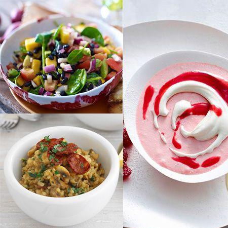Salade fraîcheur, risotto de fruits de mer et douceur aux framboises..