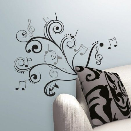 Music note scroll wall decals roommates peel and stick décor