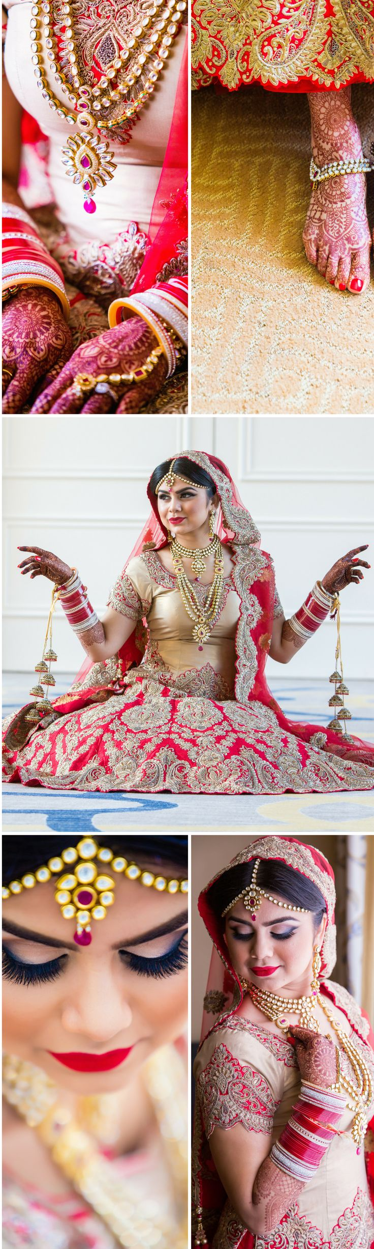 Indian wedding bridal look -  a sikh bride's jewelry (bangles, hand, necklaces, tikkas, kalirees, and payals) and wedding lengha