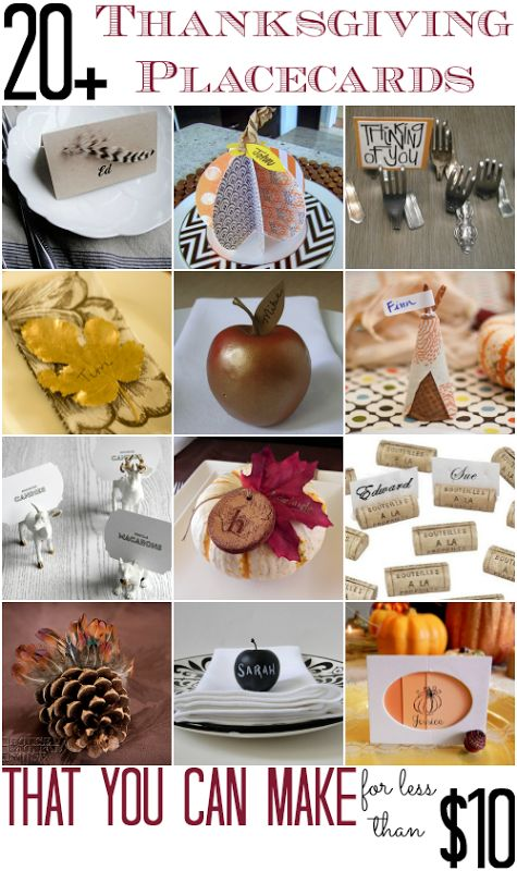 Diy Place Cards For Thanksgiving That You Can Make For