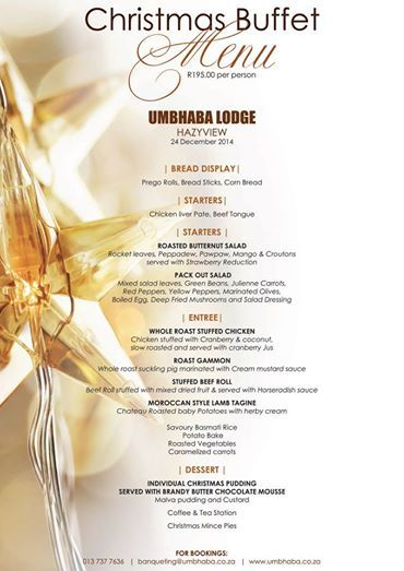Great News! Umbhaba Lodge still has availability for an unforgettable Christmas Lunch! Better make your booking soon... Christmas is around the corner.  FOR BOOKINGS:  013 737 7636 banqueting@umbhaba.co.za
