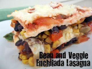 Bean and Veggie Enchilada Lasagna on MyRecipeMagic.com