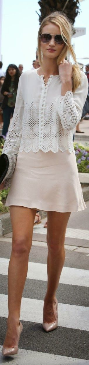 white skirt with white shirt and high heel shoes