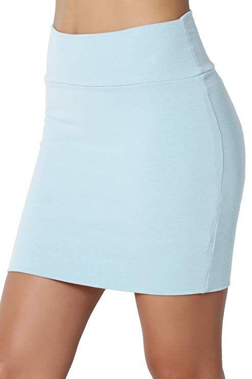 f59fd35e7 TheMogan Junior's Stretch Cotton Jersey Lined Bodycon Tube Mini Skirt Baby  Blue S