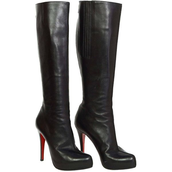 replicas christian louboutin - christian louboutin round-toe thigh-high boots Black leather | The ...