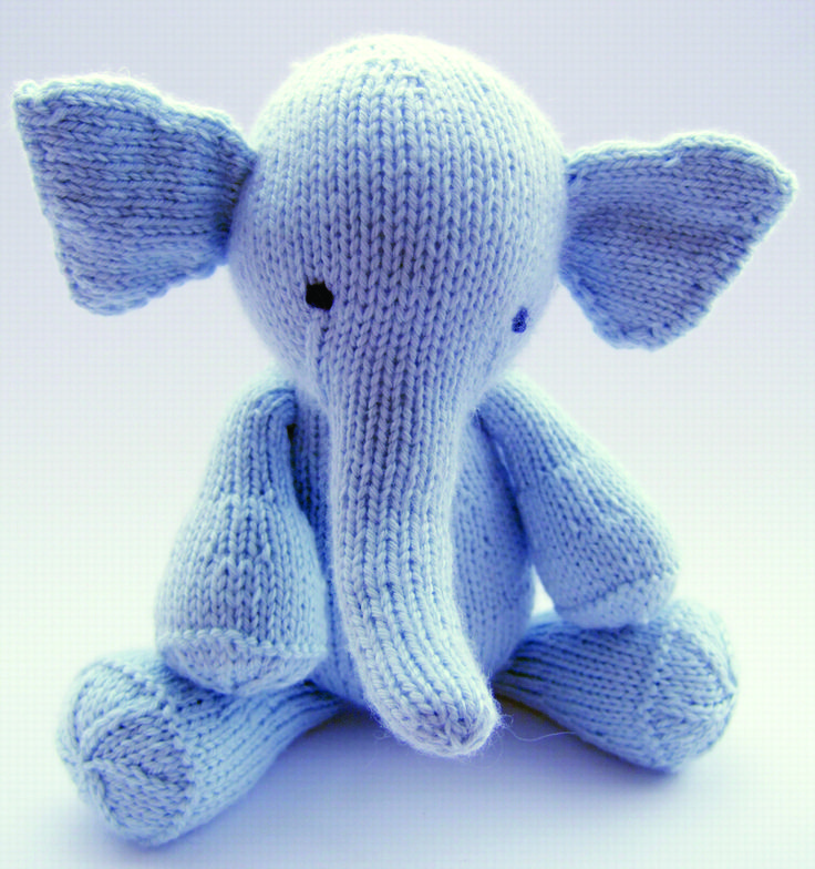 An adorable elephant toy knit without seams on double pointed needles.  Elijah was designed to be round and cuddly but still easy for little hands  to grasp. He knits up quickly and is a great way to use up small amounts of  yarn. Elijah would make a wonderful gift for any kid, or adult.