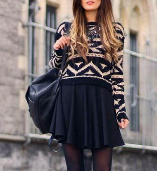 Casual outfit #sweater in #aztek paired with a #black #pleated #skirt