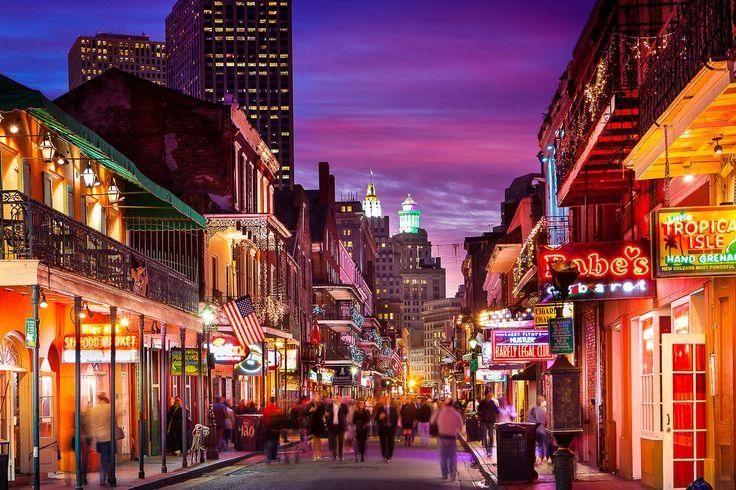 Bourbon St. New Orleans, LA, USA Photo: Mathieu Dupuis    www.mathieudupuis.com    #mathieudupuus I want to stay in a hotel on Bourbon Street!!