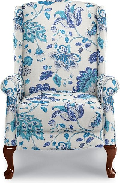 Kimberly High Leg Recliner by La-Z-Boy  Just found this upholstery and really like this one, clear white with marine blue in an updated traditional fabric - gorgeous!