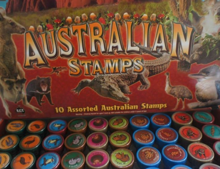 These stampers are great for children to use on various paper projects.  Stampers include Australian animals.  Come in a pack of 5.  Selection may vary depending on availability.