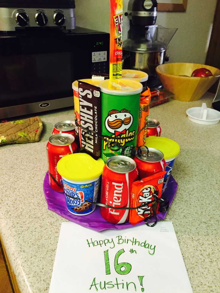 "Pringles soda candy junk ""cake"" 16 year old boy birthday idea."
