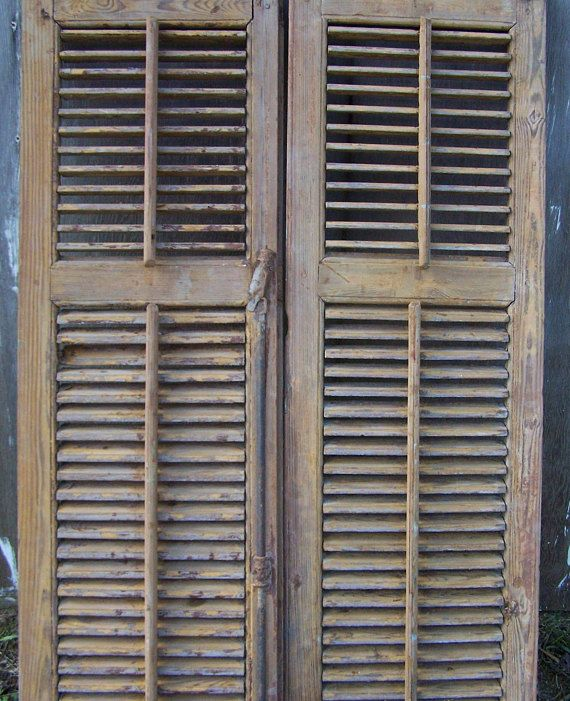 Old Shuttersvintage Two Panel Wood Shuttersmediterranean Etsy Wood Shutters Old Shutters Reclaimed Windows