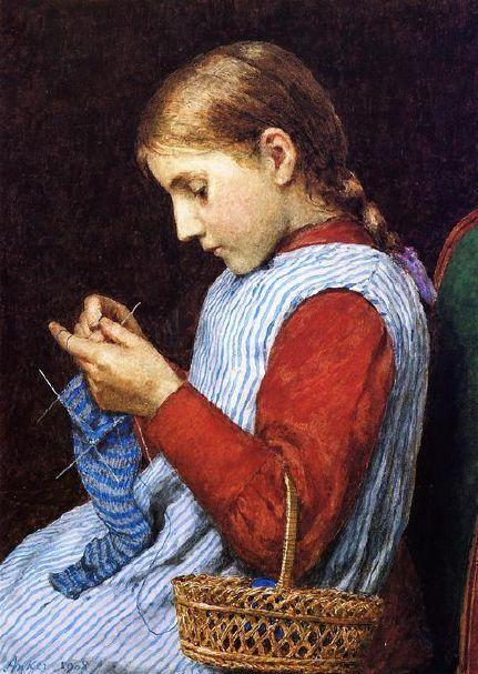 girl knitting striped sock