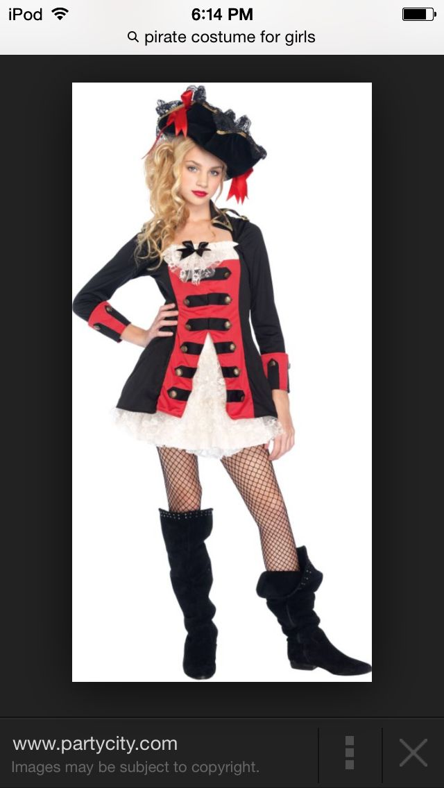 set sail on the high seas with this pretty pirate costume teen girls pretty pirate captain costume features a waistcoat dress in black and red with - Teenage Girl Pirate Halloween Costumes