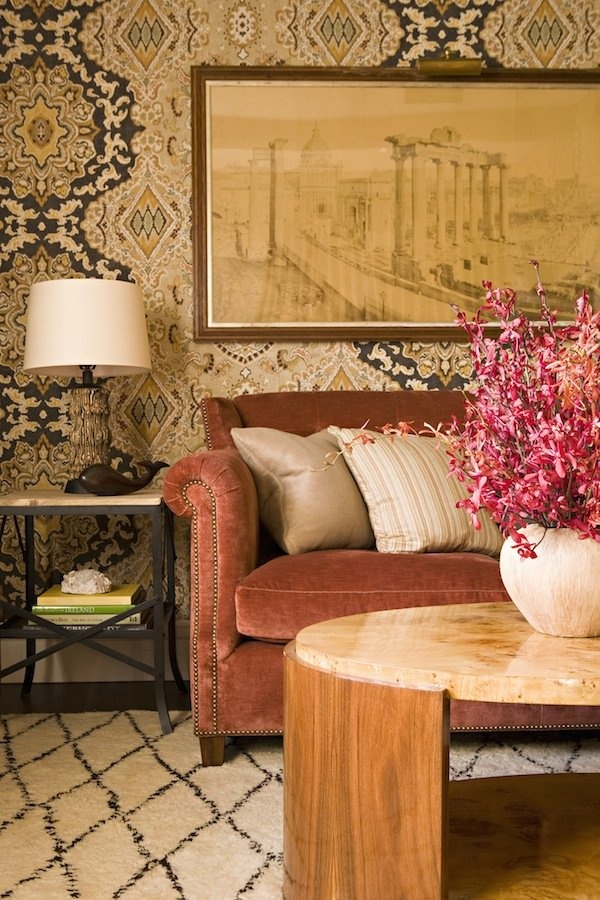 From The Walls To Floors Textural Pattern Tone Perfection Textures PatternsColor PatternsPatterned WallVelvet SofaLiving Room